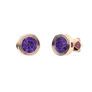 1.46 CTW Amethyst Studs Earrings 14K Rose Gold