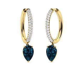 2.54 CTW London Blue Topaz & Diamond Drops Earrings 18K