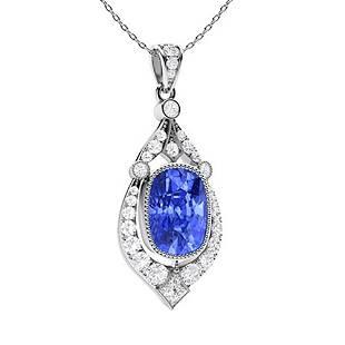 1.97 ctw Ceylon Sapphire & Diamond Necklace 14K White