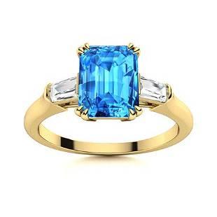 Natural 2.44 CTW Topaz & Diamond Engagement Ring 18K