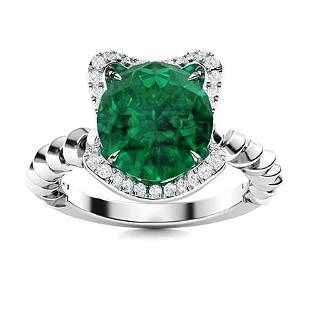 Natural 1.89 CTW Emerald & Diamond Engagement Ring 18K