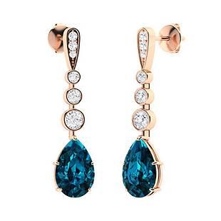 2.33 CTW London Blue Topaz & Diamond Drops Earrings 14K