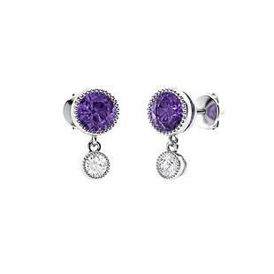 1.08 CTW Amethyst & Diamond Drops Earrings 14K White
