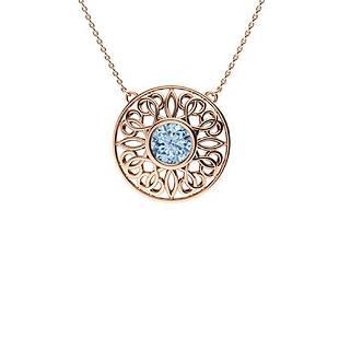 1.72 ctw Aquamarine Necklace 18K Rose Gold