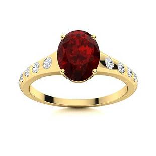 Natural 2.64 CTW Garnet & Diamond Engagement Ring 18K