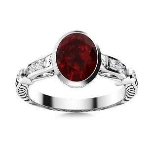 Natural 1.30 CTW Garnet & Diamond Engagement Ring 14K