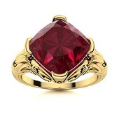 Natural 2.96 CTW Ruby Solitaire Ring 14K Yellow Gold