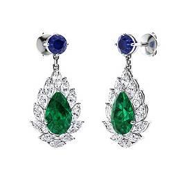 4.44 CTW Emerald Chandelier Earrings 18K White Gold
