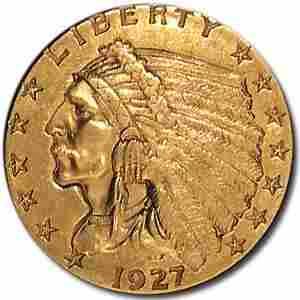 1927 $2.50 Indian Gold Quarter Eagle AU