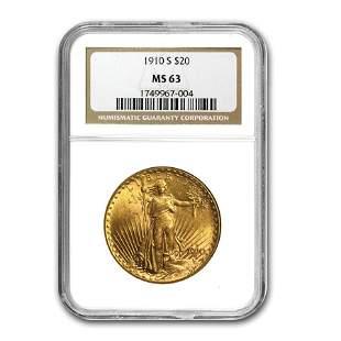 1910-S $20 Saint-Gaudens Gold Double Eagle MS-63 NGC