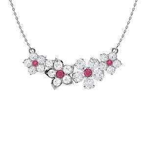 3.06 ctw Tourmaline & Diamond Necklace 18K White Gold