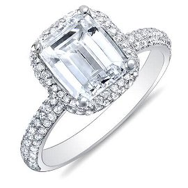 Natural 2.02 CTW Emerald Cut Halo Diamond Engagement
