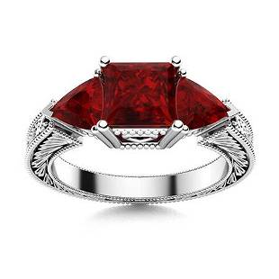 Natural 2.28 CTW Garnet Solitaire Ring 14K White Gold