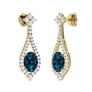 3.66 CTW London Blue Topaz & Diamond Drops Earrings 18K
