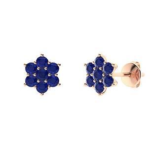 0.56 CTW Sapphire Studs Earrings 14K Rose Gold
