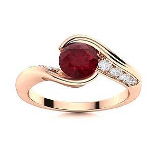 Natural 1.23 CTW Ruby & Diamond Engagement Ring 18K