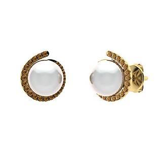 3.29 CTW Brown Diamond & White Pearl Halo Earrings 14K