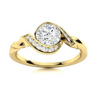 Natural 0.95 CTW Diamond Solitaire Ring 18K Yellow Gold