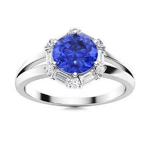Natural 1.61 CTW Ceylon Sapphire & Diamond Engagement