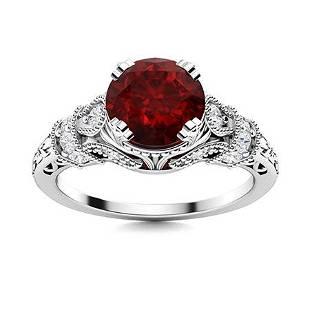Natural 1.05 CTW Garnet & Diamond Engagement Ring 14K