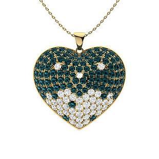 2.3 ctw White & Blue Diamond Necklace 18K Yellow Gold