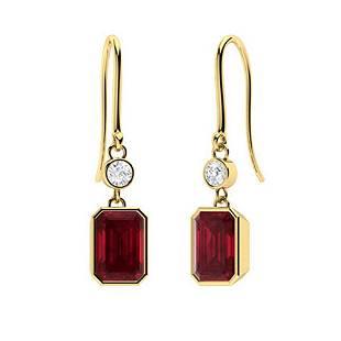 2.36 CTW Ruby & Diamond Drops Earrings 18K Yellow Gold