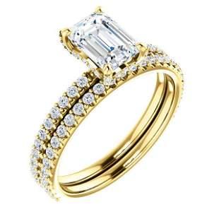 Natural 2.02 CTW Halo Emerald Cut Diamond Ring 18KT