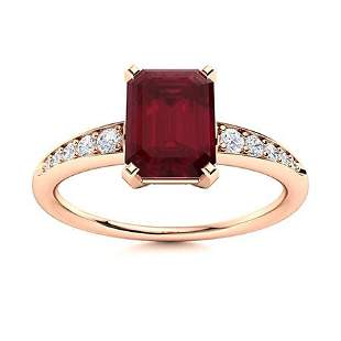 Natural 2.35 CTW Ruby & Diamond Engagement Ring 18K