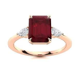 Natural 3.47 CTW Ruby & Diamond Engagement Ring 14K