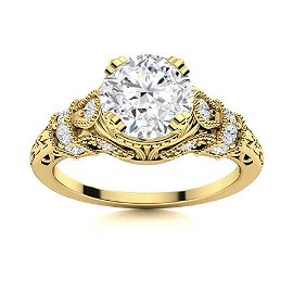 Natural 1.15 CTW Diamond Solitaire Ring 14K Yellow Gold