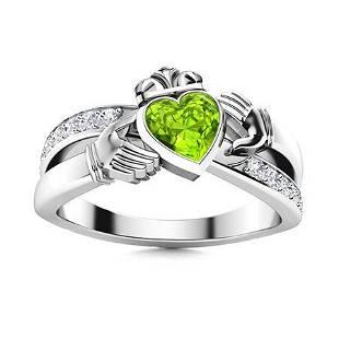 Natural 1.76 CTW Peridot & Diamond Engagement Ring 14K