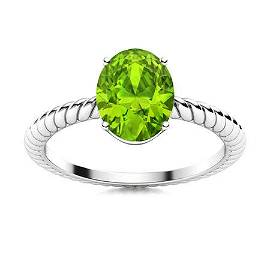 Natural 0.91 CTW Peridot Solitaire Ring 18K White Gold