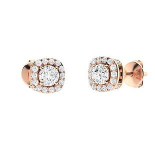 0.6 CTW White Topaz & Diamond Halo Earrings 14K Rose