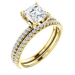 Natural 2.12 CTW Halo Asscher Cut Diamond Ring 14KT
