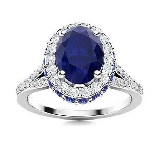 Natural 2.07 CTW Sapphire & Diamond Engagement Ring 14K