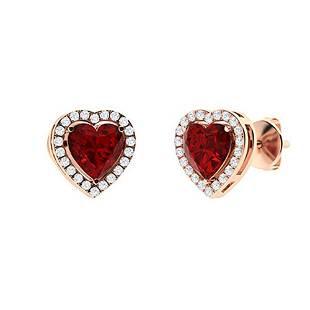 2.48 CTW Garnet & Diamond Halo Earrings 18K Rose Gold