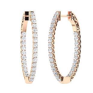 1.78 CTW White Topaz & Diamond Hoops Earrings 14K Rose