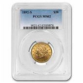1892-S $20 Liberty Gold Double Eagle MS-62 PCGS