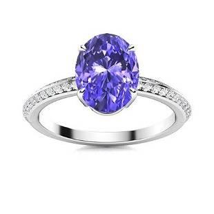 Natural 1.36 CTW Tanzanite & Diamond Engagement Ring
