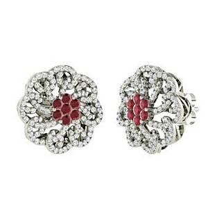 2.14 CTW Ruby Halo Earrings 14K White Gold