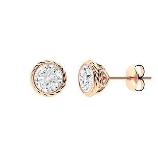 2.46 CTW White Topaz Studs Earrings 18K Rose Gold