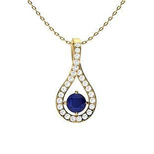 0.37 ctw Sapphire & Diamond Necklace 18K Yellow Gold