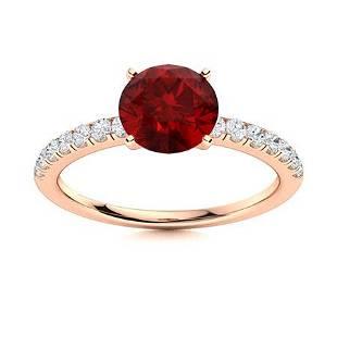 Natural 1.96 CTW Garnet & Diamond Engagement Ring 14K