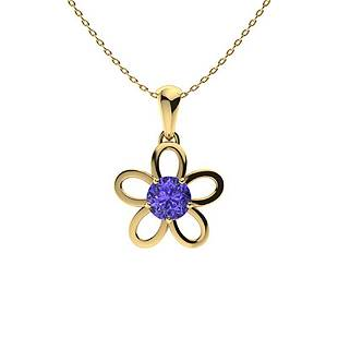 0.62 ctw Tanzanite Necklace 18K Yellow Gold