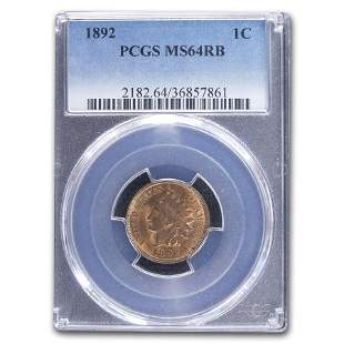 1892 Indian Head Cent MS-64 PCGS (Red/Brown)