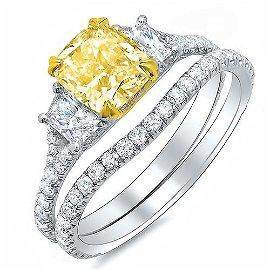 Natural 2.72 CTW Cushion Cut Intense Yellow Diamond