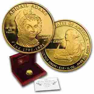 2007-W 1/2 oz Proof Gold Abigail Adams (w/Box & COA)