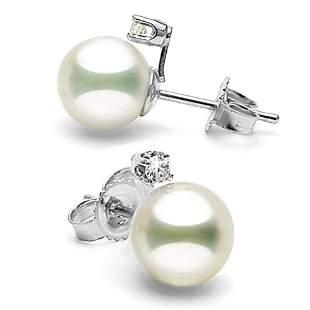 White Akoya Pearl and Diamond Radiance Earrings