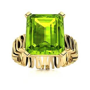 Natural 5.52 CTW Peridot Solitaire Ring 18K Yellow Gold