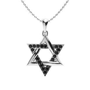 0.27 ctw Black Diamond Necklace 18K White Gold
